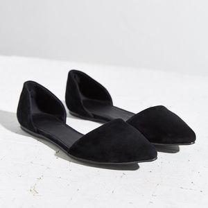 Urban Outfitters Suede Black D'Orsay Flat Size 8